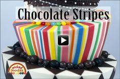Here is a video tutorial demonstrating how to decorate a cake with colorful strips of modeling chocolate. This is an easy design idea that can be used to dress up birthday cakes, kid'