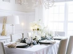Outside Light - Creating a White-on-White Holiday Tablescape on HGTV