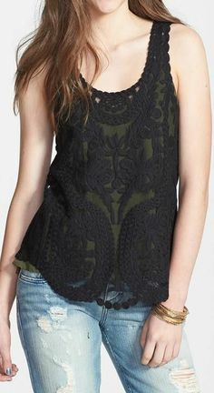 Sheer Embroidered Lace Tank ♥