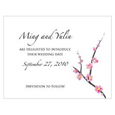 cherry blossom save the date as low as $0.52, cherry blossom wedding invitations, cherry blossom wedding decorations