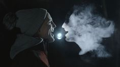 All visuals captured in camera by back projecting the animated story into the breaths of the band. In the same way that you can see your breath on a cold day, we filmed at -1ºC to make the animations appear.