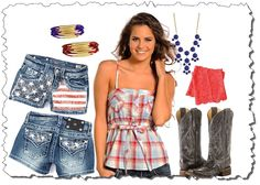 Shirt – #PanhandleSlim Shorts – #MissMe Jewelry – #Zad  Boots – #Corral #BootLace Cuffs – #CowgirlJustice