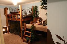 camo/hunting themed boys room | Loft Bed Forest theme, My son wanted a forest - themed room where he ...