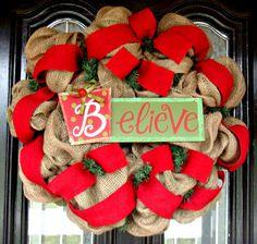 BELIEVE Christmas Burlap Wreath