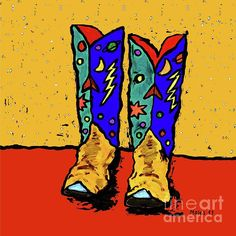 COWBOY BOOTS ON YELLOW.   Of course, these boots are not JUST for kid's rooms.  They would look great in ANY room.  The METAL PRINTS look great especially wonderful in a bathroom or kitchen.  Check 'em out!
