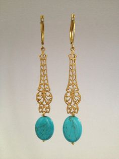 Dangle Earring with Turquoise Stones by Hibiscus03 on Etsy, $35.00