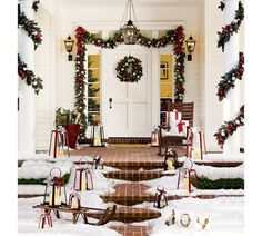 Outdoor Ornament Pine Wreath - Red/Silver | Pottery Barn