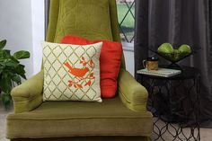 Great for tossing on your bed or couch, these stenciled DIY throw pillows are quick and easy to make and are sure to add a splash of color to your decor.