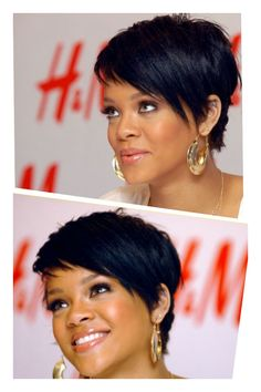 Love her cut! Long Pixie with Bangs Rihanna