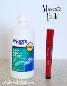 Add a couple drops of saline solution to mascara when it starts to dry out, this will make it last longer!