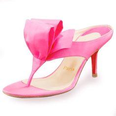 Pink Christian Louboutin Satin Tulip Thong Sandals £73.00