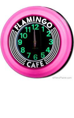 Art Deco Clock Flamingo Cafe Pink Light Up