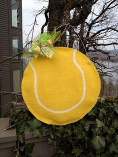 Burlap Tennis Ball Door Decoration