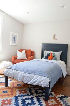boy room - burnt orange and navy blue