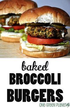 Baked Broccoli Burgers http://onegr.pl/1qvHnCO #vegan #summer #meatless