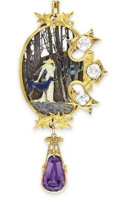 An 1898 Lalique Pendant designed for actress Sarah Bernhardt. It depicts Miss Bernhardt as Mélissande in La Princesse Lointaine.