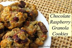 Chocolate Raspberry Granola Cookies - Quick and easy chocolate raspberry granola cookie recipe packed with healthy ingredients and a chocolate/raspberry kick.