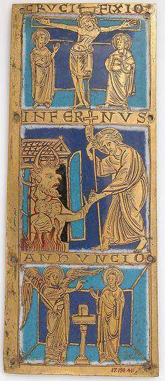 Plaque from a Portable Altar with Scenes from the Life of Jesus, ca.1160–80, Made in Cologne, Germany, Champlevé enamel, copper-gilt