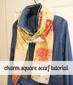 """30-Minute Gift: Charm Square Scarf .. take yer pick, doesn't have to the one shown, it might be fabric you cut into 5"""" squares / charm pack size w/your rotary cutter ... you can also sew one row of 5"""" squares, then back the scarf with minkey for a child ... whatev ... just do it! ... modabakeshop"""