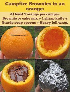 Baking cake at camp in an orange.