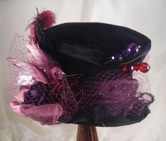 Purple and Black Mad Hatter Hat with Hatpins
