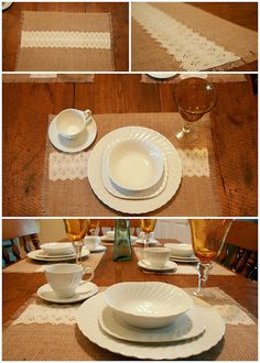 Shabby chic burlap placemat with ivory lace running through middle!