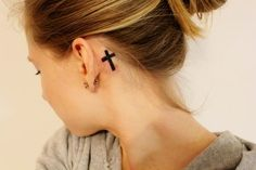 Small Cross Tattoos For Girls Behind The Ear
