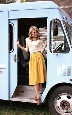 Mustard Skirt and Satin Top