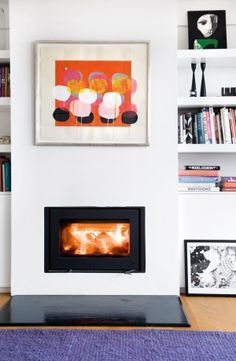 fire and art interior design, live space, color, fireplaces, art