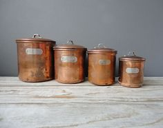 Set of Copper Nesting Kitchen Canisters by OceanSwept on Etsy - look just like my mom's. love!