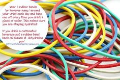 Wear 8 rubber bands and take one off every time you drink a glass of water. Good idea.