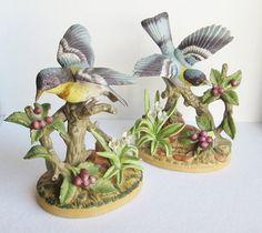 Vintage Jonathon Byron Porcelain Bird Figurines by BaggageandBones.