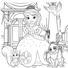 Let your little one get creative and color this Sofia the First picture with her favorite friends.