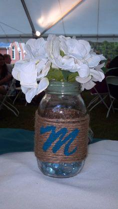Mason jar center piece for wedding
