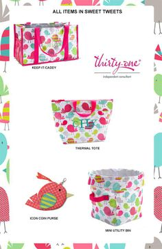 Thirty One's new Sweet Tweet pattern is perfect for Easter baskets!