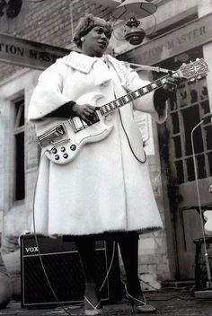 """Hailed the godmother of rock & roll, Sister Rosetta Tharpe helped create the concept of rock lead guitar and was born on this day in 1915. Happy Birthday, Sister Rosetta.  """"She would sing until you cried and then she would sing until you danced for joy.""""  Check out her legendary performance of """"Didn't it Rain"""" at the Manchester train station in 1964: http://j.mp/OGjybd rock lead, happy birthdays"""