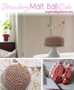 Strawberry Malt Ball Cake with White Chocolate Cream Cheese Frosting