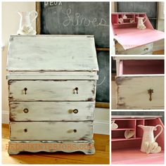 Secretary Desk Makeover with CeCe Caldwell's Nantucket Spray and Minnesota Lady's Slipper Pink. Check out the before to really see the difference! REDOUXINTERIORS.COM FACEBOOK: REDOUX