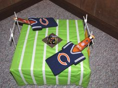 soldier field, plastic tablecloth