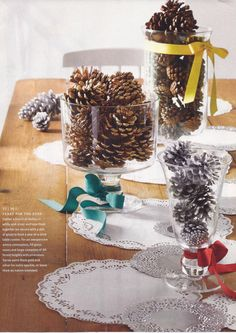 winter tablescape with pinecones