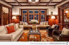 craftsman style living rooms | 15 Warm Craftsman Living Room Designs