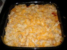 King ranch chicken---- 5 ingredients: Corn tortillas, chicken, cream of chicken, rotel, cheese