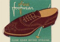 Fine Footwear - vintage matchbox label