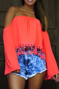 jean shorts, teen fashion, cloth, crop tops, fringe crop top