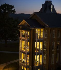 Perhaps one of my favorite views on campus, Founders Hall lit up at night.