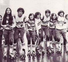ganbattesisyphus:  A photograph from the 60s of the Japanese roller derby team the Tokyo Bombers.