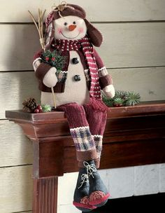 Singing Primitive Country Holiday Snowman Decoration