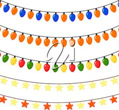 iCLIPART - Clip Art Illustration of Christmas Garlands of Stars and Lights
