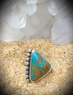 Bright Turquoise Triangle Silver Ring Size 7 by nativerainbow, $120.00