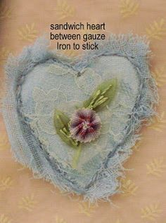 "Pretty little sewn hearts - layers of gauze make light tatters - tutorial (note, on the following post she corrected that ""tyvek"" should read ""timtex"")  *********************************************   Just Lilla #fabric #hearts"
